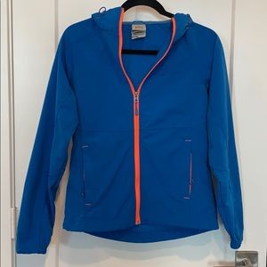 Blue and orange outer layer jacket